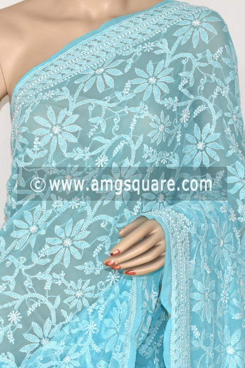 Pherozi Blue Allover Hand Embroidered Lucknowi Chikankari Saree (With Blouse - Georgette) 14845