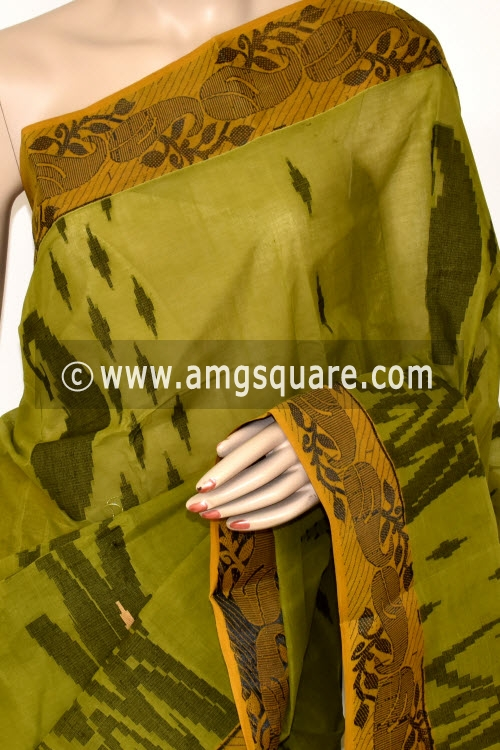 Menhdi Green Handwoven Bengal Tant Cotton Saree (Without Blouse) Resham Border 17408