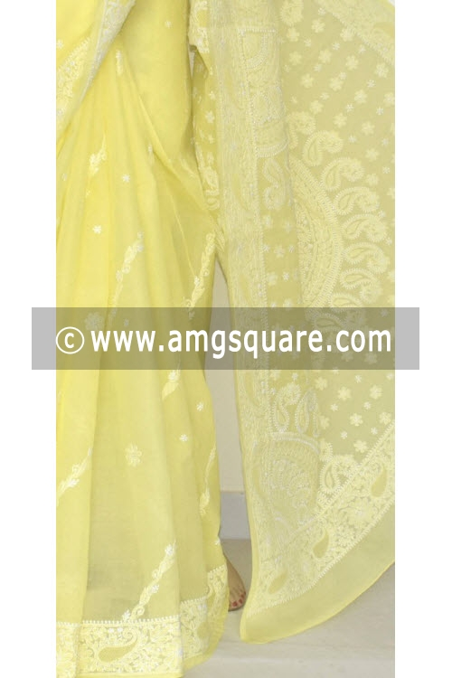 Lemon Yellow Hand Embroidered Lucknowi Chikankari Saree (With Blouse - Cotton) 14681