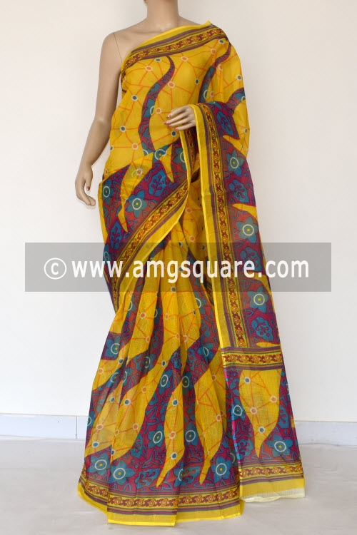 Yellow Premium JP Kota Doria Printed Cotton Saree (without Blouse) 15380