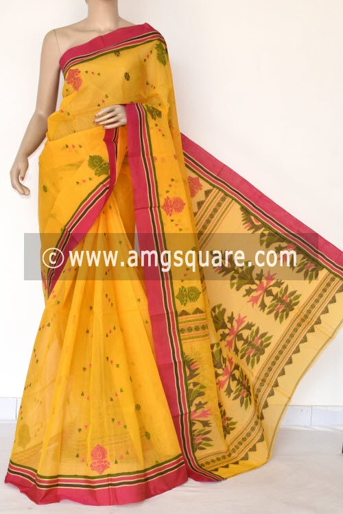 Golden Yellow Bengal Tant Cotton Saree (Without Blouse) 17417