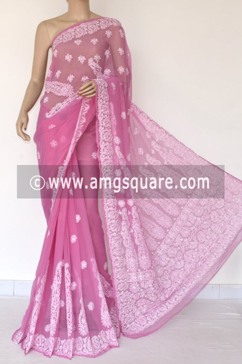 Onion Hand Embroidered Lucknowi Chikankari Saree (With Blouse - Georgette) 14460