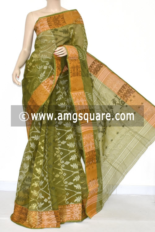 Menhdi Green Jamdani Handwoven Bengal Tant Cotton Saree (Without Blouse) 17346