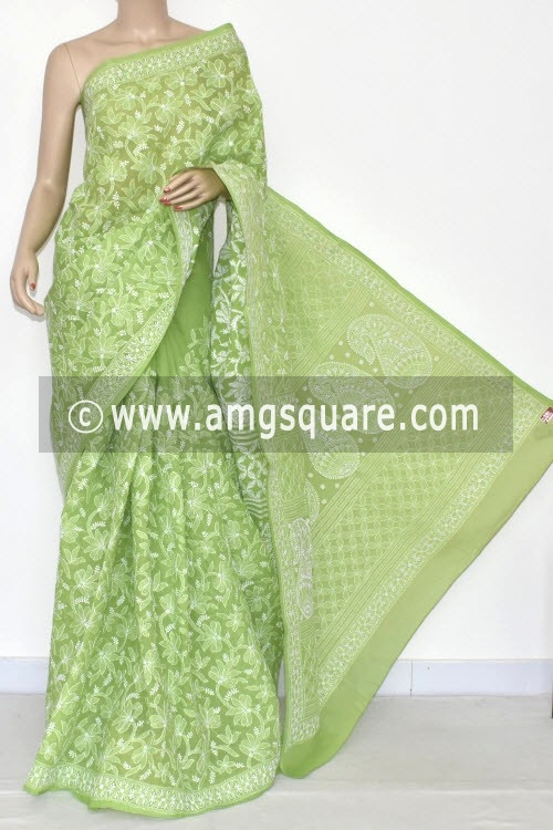 Menhdi Green Allover Hand Embroidered Lucknowi Chikankari Saree (With Blouse - Cotton) 14662