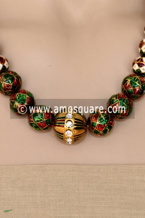 Red Green Designer Kantha Necklace Set (Without Earrings) 12755