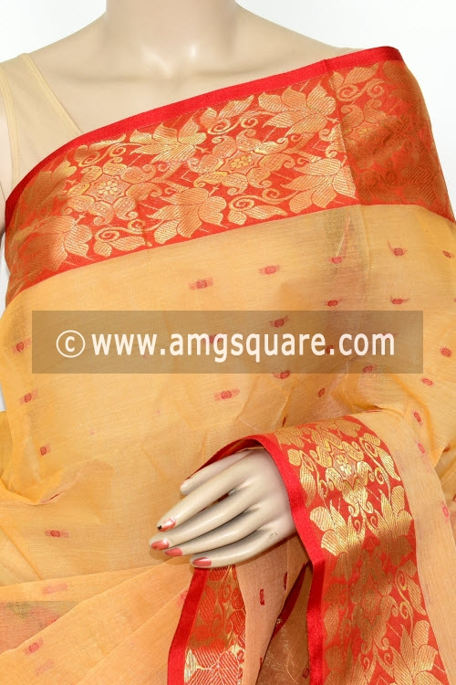 Beige Red Handwoven Bengal Tant Cotton Saree (Without Blouse) Zari Border 17208