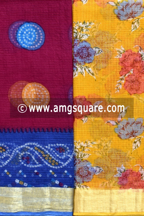 Maroon and Golden Yellow Allover Floral Printed JP Kota Sarees (Set of Two Sarees) 16006