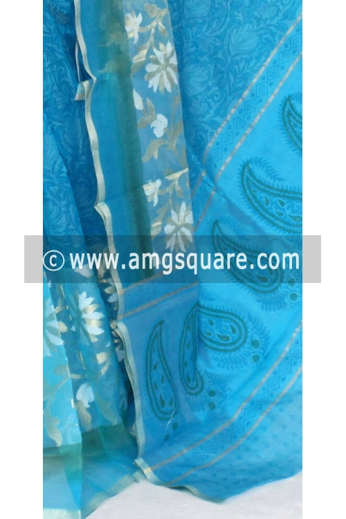 Pherozi Blue Banarasi Kora Cot-Silk Printed Handloom Saree (With Blouse) 16116