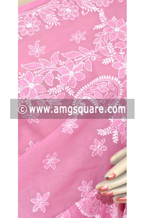 Onion Hand Embroidered Lucknowi Chikankari Saree (With Blouse - Cotton) 14670
