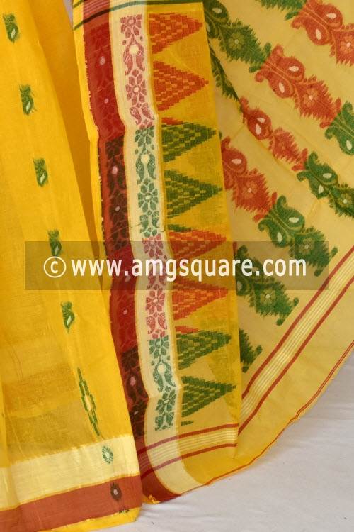 TYellow Handwoven Bengali Tant Cotton Saree (Without Blouse) 14027