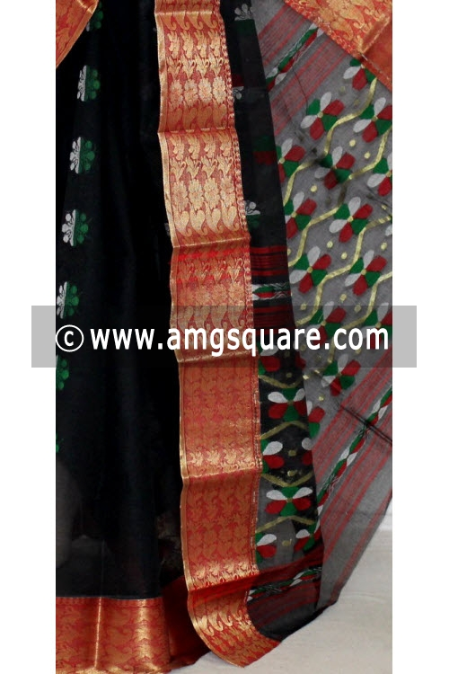 Black Red Handwoven Bengal Tant Cotton Saree (Without Blouse) Zari Border 14110