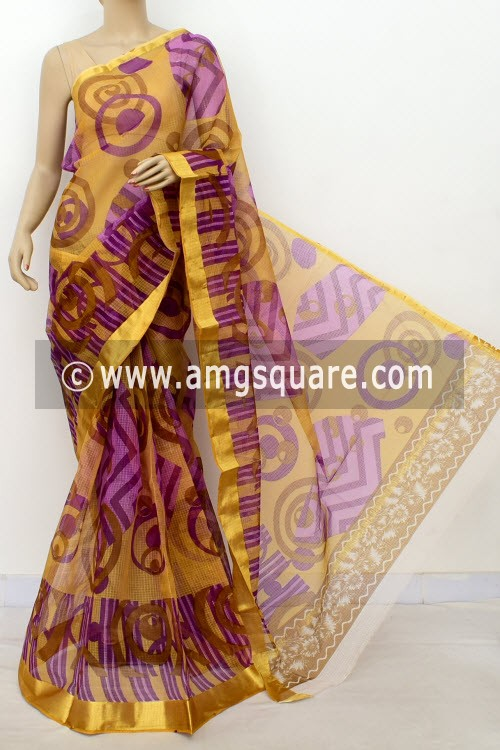 Purple JP Kota Doria Printed Cotton Saree (without Blouse) Zari Border 13504