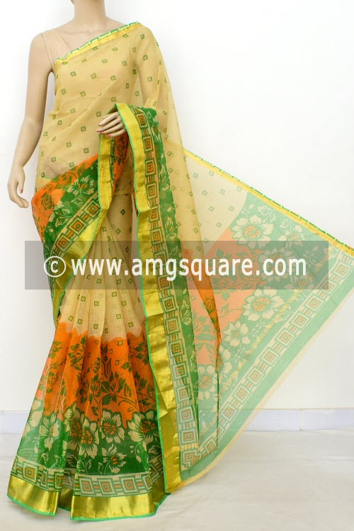 Beige JP Kota Doria Printed Cotton Saree (without Blouse) Zari Border 13507