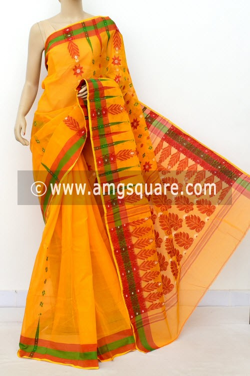 Turmeric Yellow Handwoven Bengal Tant Cotton Saree (Without Blouse) 14158