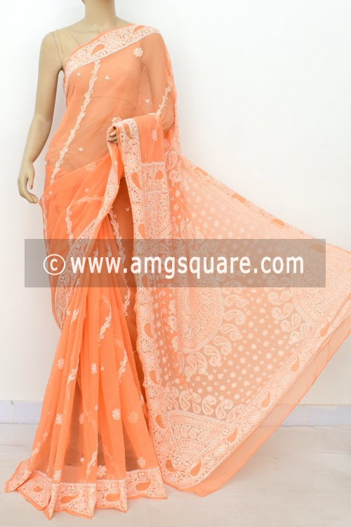 c42bc56175 Light Orange Hand Embroidered Lucknowi Chikankari Saree (With Blouse -  Georgette) Rich Pallu 14625