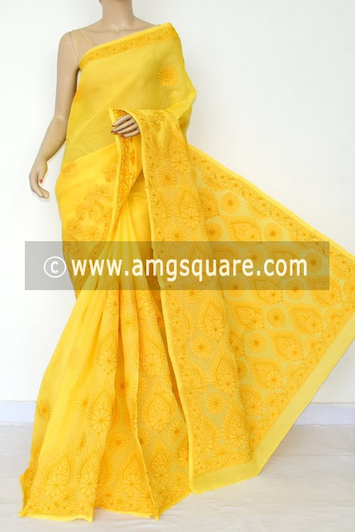 Ochre Yellow Hand Embroidered Lucknowi Chikankari Saree (With Blouse - Cotton) Heavy Border & Pallu 14758