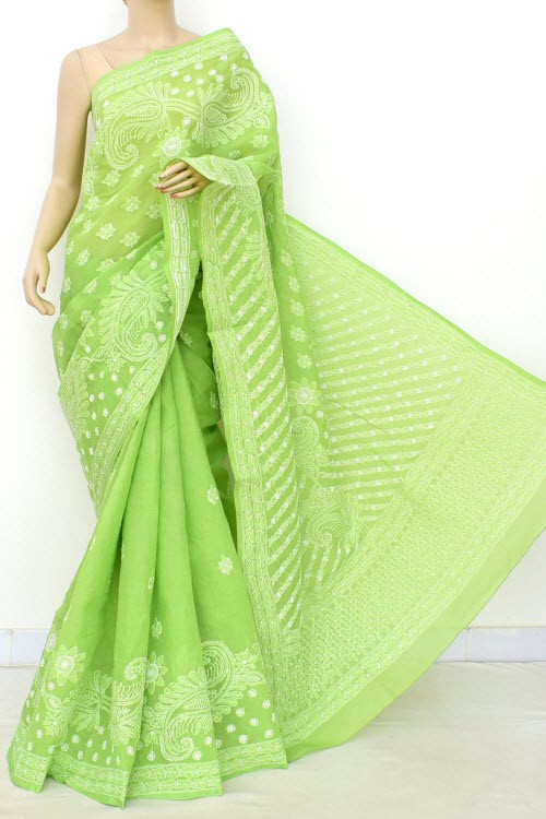Menhdi Green Hand Embroidered Lucknowi Chikankari Saree (With Blouse - Cotton)  Heavy Skirt Border and Rich Pallu 14774