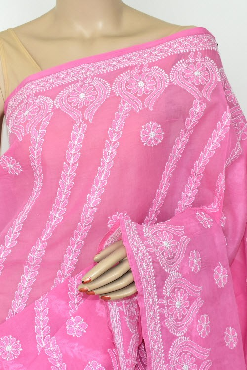 Move Exclusive Hand Embroidered Lucknowi Chikankari Saree (With Blouse - Cotton) 14784