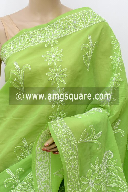Menhdi Green Hand Embroidered Lucknowi Chikankari Saree (With Blouse - Cotton)  Heavy Skirt Border and Rich Pallu 14797
