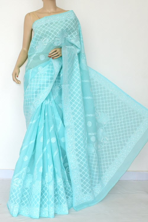 Sea Green Exclusive Hand Embroidered Lucknowi Chikankari Saree (With Blouse - Cotton) 14808