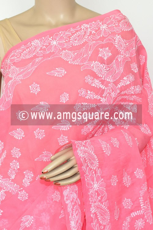 Peach Exclusive Hand Embroidered Lucknowi Chikankari Saree (With Blouse - Cotton) 14814