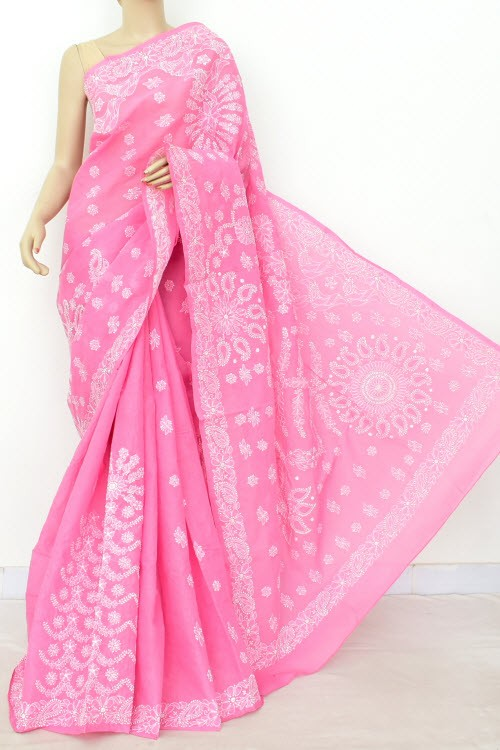 Onion Exclusive Hand Embroidered Lucknowi Chikankari Saree (With Blouse - Cotton) 14816