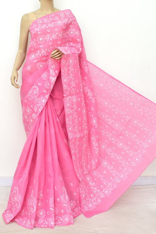 Onion Hand Embroidered Lucknowi Chikankari Saree (With Blouse - Cotton) Rich Border and Pallu 14817