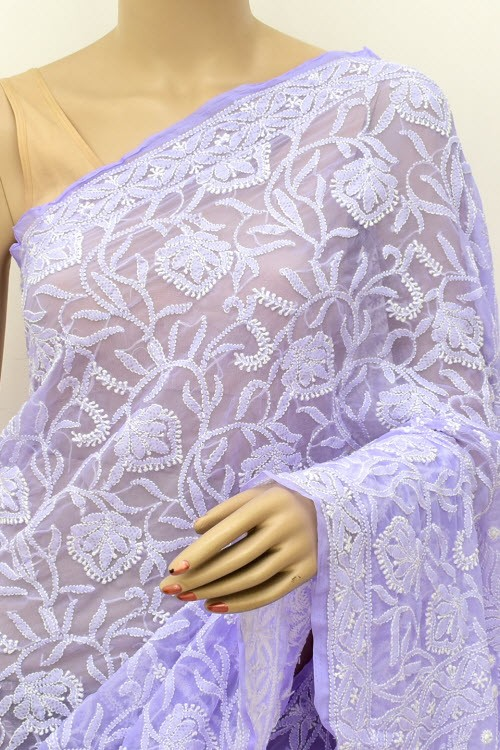 Lavander Allover Hand Embroidered Lucknowi Chikankari Saree (With Blouse - Georgette) 14869