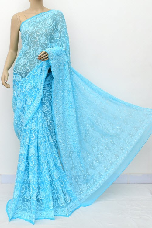 Pherozi Blue Allover Hand Embroidered Lucknowi Chikankari Saree (With Blouse - Georgette) 14872