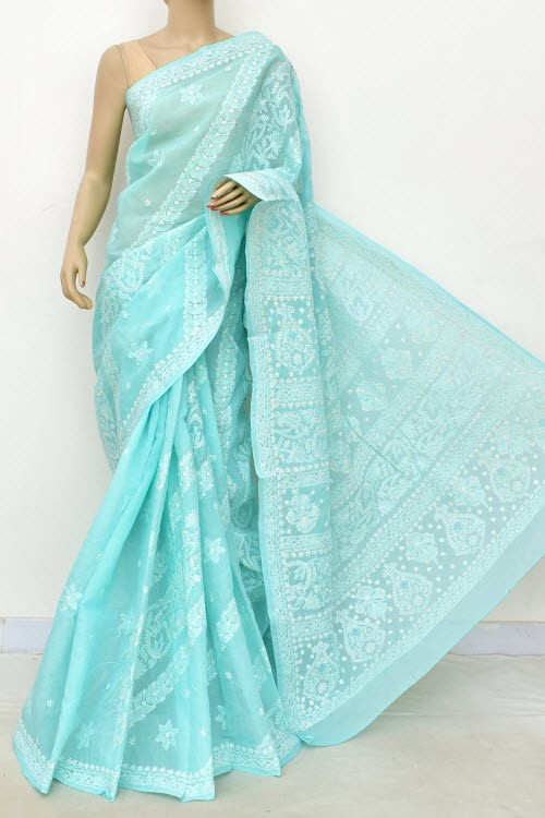 Sea Green Designer Hand Embroidered Lucknowi Chikankari Saree (With Blouse - Cotton) Rich Border and Pallu 14915