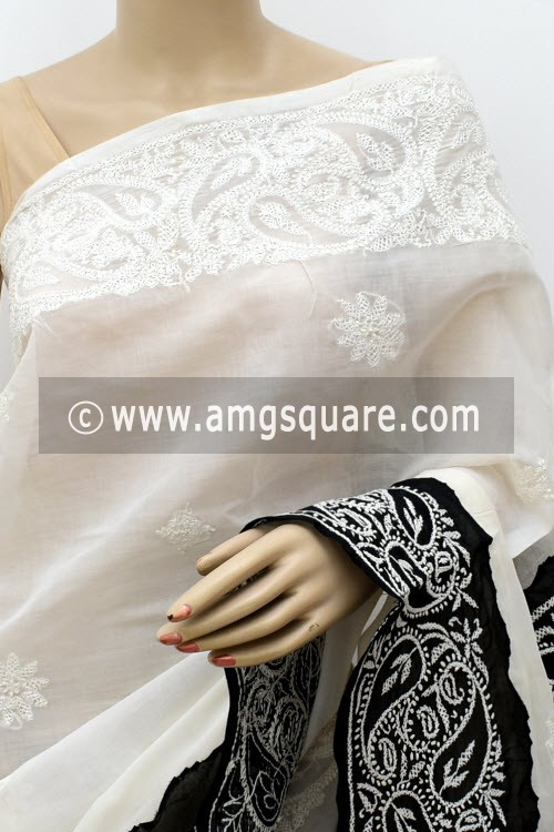 White Black Designer Hand Embroidered Reverse Stitch Lucknowi Chikankari Saree (With Blouse - Cotton) Daraj Work Border & Pallu 14917