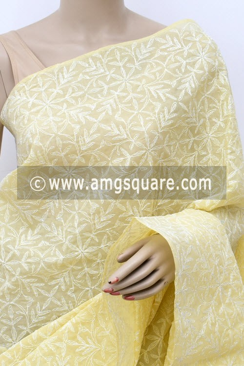 Beige Allover Hand Embroidered Tepchi Work Lucknowi Chikankari Saree (With Blouse - Cotton) 14965
