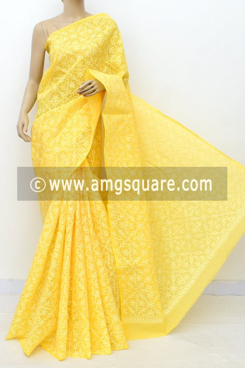 Yellow Allover Hand Embroidered Tepchi Work Lucknowi Chikankari Saree (With Blouse - Cotton) 14966