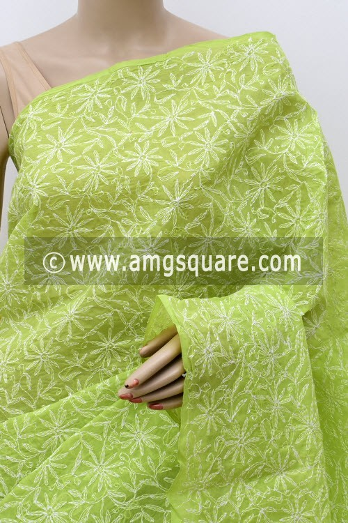 Pista Green Allover Hand Embroidered Tepchi Work Lucknowi Chikankari Saree (With Blouse - Cotton) 14967