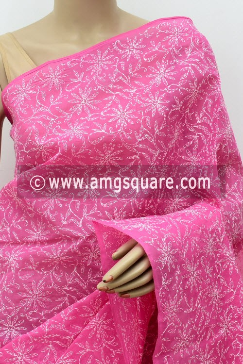 Onion Allover Hand Embroidered Tepchi Work Lucknowi Chikankari Saree (With Blouse - Cotton) 14968