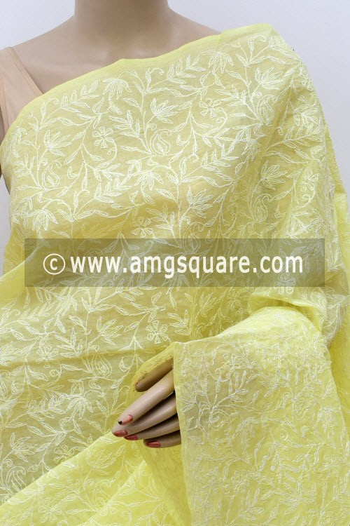 Lemon Yellow Allover Hand Embroidered Tepchi Work Lucknowi Chikankari Saree (With Blouse - Cotton) 14969