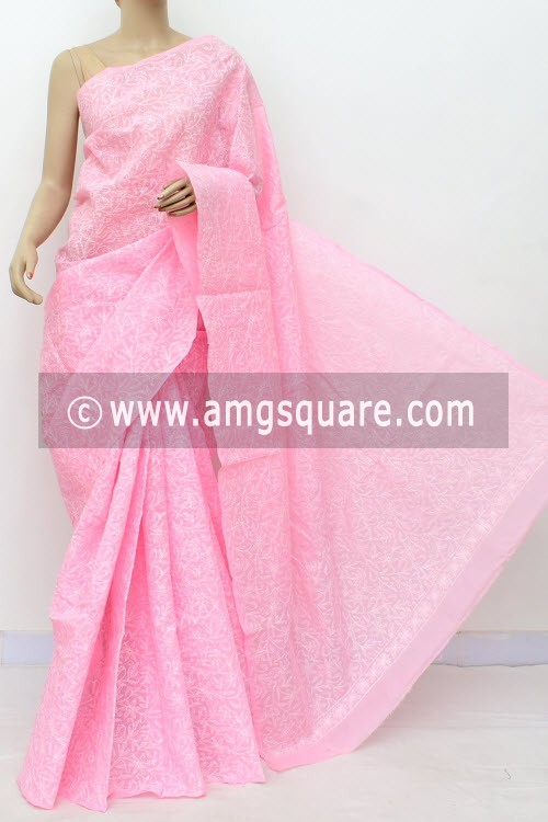Pink Allover Hand Embroidered Tepchi Work Lucknowi Chikankari Saree (With Blouse - Cotton) 14971