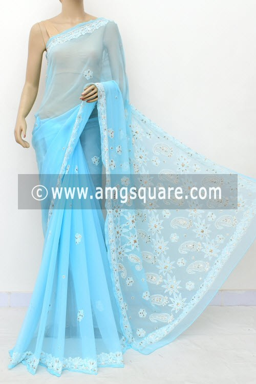 Sky Blue Hand Embroidered Lucknowi Chikankari Saree (With Blouse - Georgette) Embellished with Gota-Patti 14973