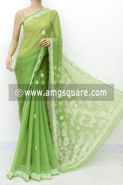 Pista Green Hand Embroidered Lucknowi Chikankari Saree (With Blouse - Georgette) Embellished with Gota-Patti 14975