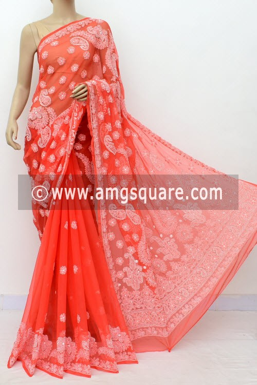 Dark Peach Hand Embroidered Lucknowi Chikankari Saree (With Blouse - Georgette) Half Jaal 14976