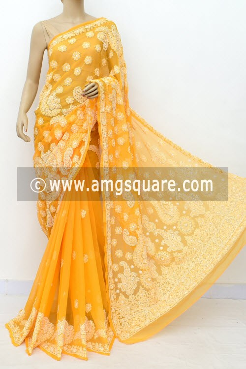 Deep Yellow Hand Embroidered Lucknowi Chikankari Saree (With Blouse - Georgette) Half Jaal 14978