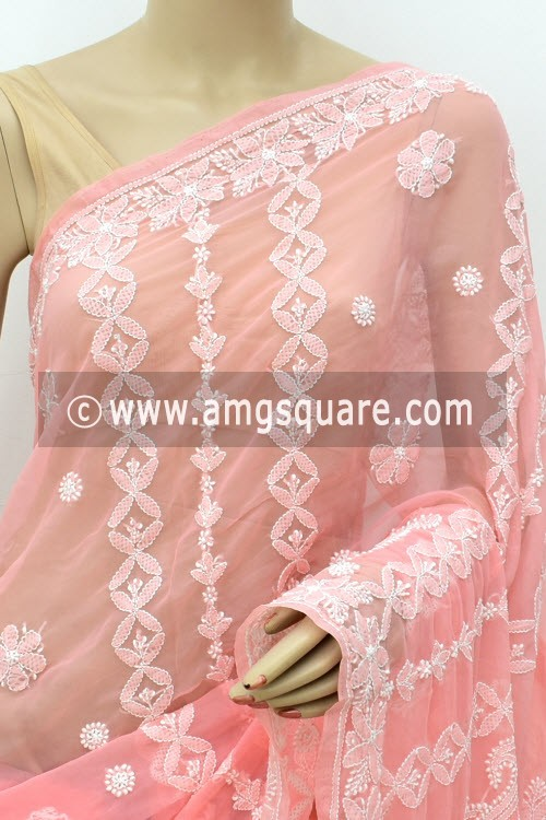 Peach Hand Embroidered Lucknowi Chikankari Saree (With Blouse - Georgette) Rich Pallu 14980