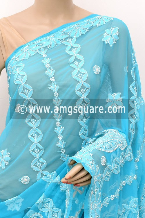 Pherozi Blue Hand Embroidered Lucknowi Chikankari Saree (With Blouse - Georgette) Rich Pallu 14981