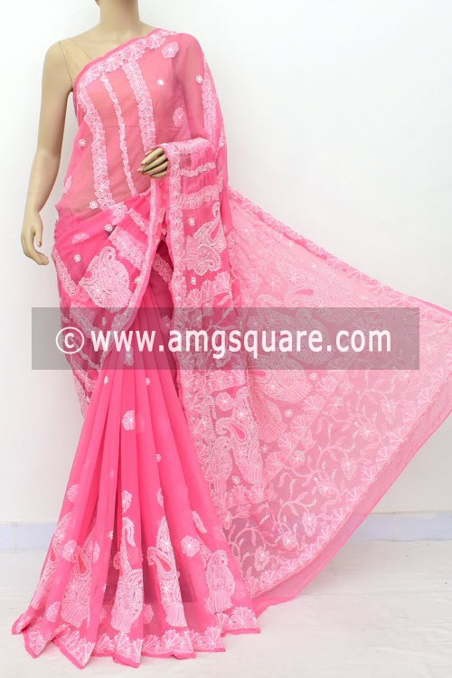 Onion Hand Embroidered Lucknowi Chikankari Saree (With Blouse - Georgette) Rich Pallu 14982