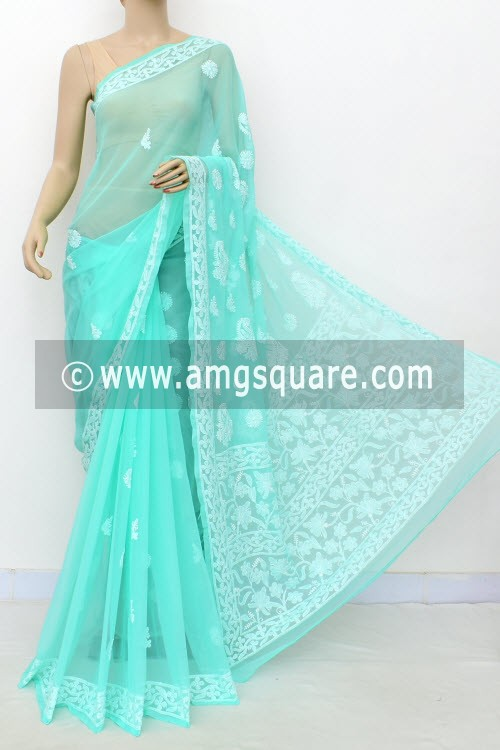 Sea Green Hand Embroidered Lucknowi Chikankari Saree (With Blouse - Georgette) 15001