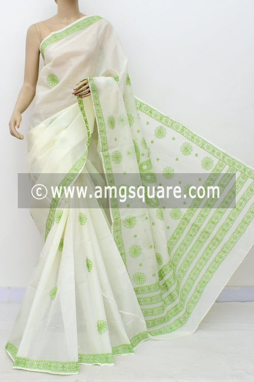 Off White Green Hand Embroidered Lucknowi Chikankari Saree (With Blouse - Cotton) Rich Pallu 15007