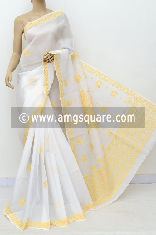 Off White Yellow Hand Embroidered Lucknowi Chikankari Saree (With Blouse - Cotton) Rich Pallu 15008