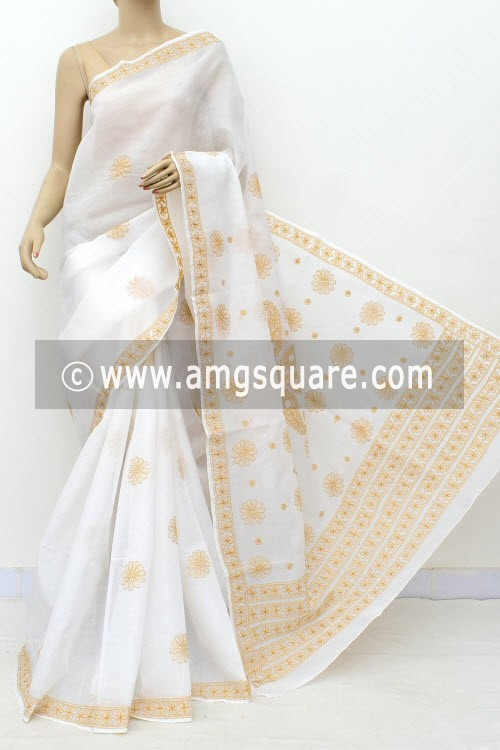 Off White Mustard Hand Embroidered Lucknowi Chikankari Saree (With Blouse - Cotton) Rich Pallu 15010
