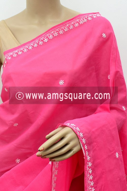 Dark Pink Hand Embroidered Lucknowi Chikankari Saree (With Blouse - Cotton) Rich Pallu 15011