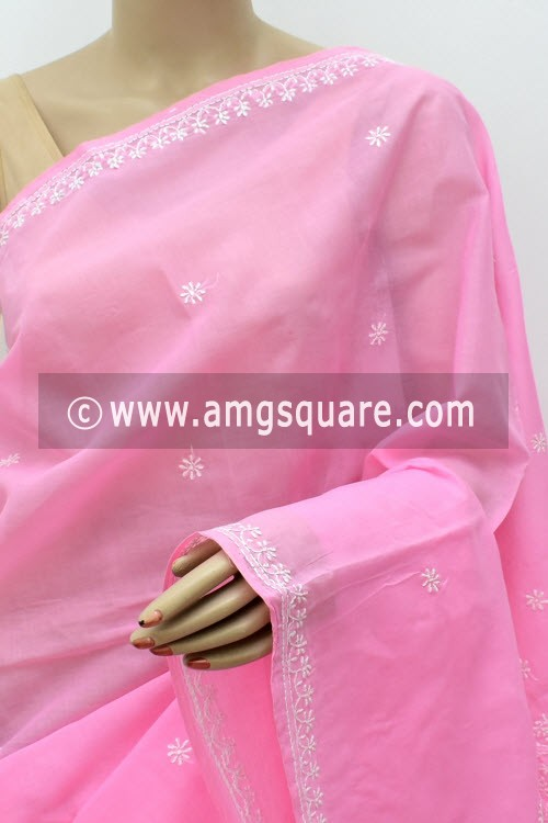 Light Pink Hand Embroidered Lucknowi Chikankari Saree (With Blouse - Cotton) Rich Pallu 15012